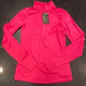 Nike pro hyper warm half zip pink